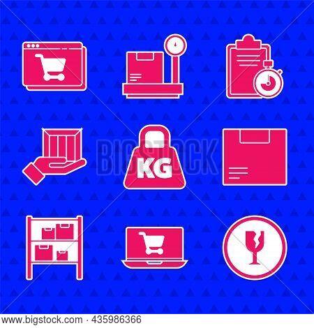 Set Weight, Shopping Cart On Laptop, Fragile Broken Glass, Carton Cardboard Box, Warehouse, Delivery