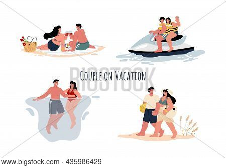 Romantic Vacation For A Couple At Sea.a Man And A Woman Are Having An Active Vacation.vector Flat.