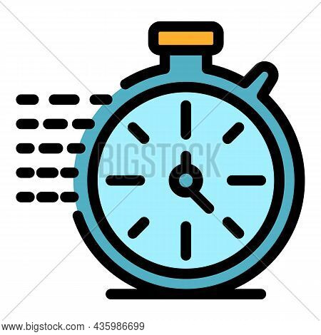 Running Stopwatch Icon. Outline Running Stopwatch Vector Icon Color Flat Isolated
