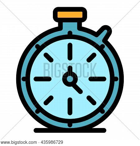 Sport Stopwatch Icon. Outline Sport Stopwatch Vector Icon Color Flat Isolated