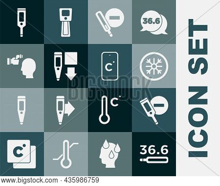 Set Medical Thermometer, Digital, Snowflake, Checking Body Temperature, And Celsius Icon. Vector