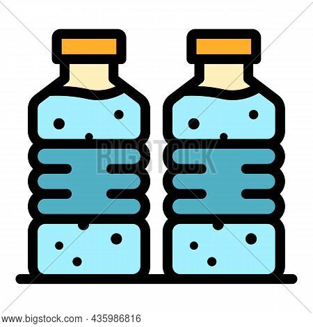 Mineral Water Bottle Icon. Outline Mineral Water Bottle Vector Icon Color Flat Isolated