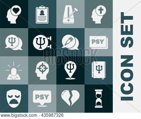 Set Old Hourglass, Psychology Book, Psi, Psychology, , Metronome With Pendulum, Broken Heart Or Divo