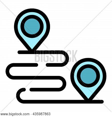 Workout Senior Running Route Icon. Outline Workout Senior Running Route Vector Icon Color Flat Isola