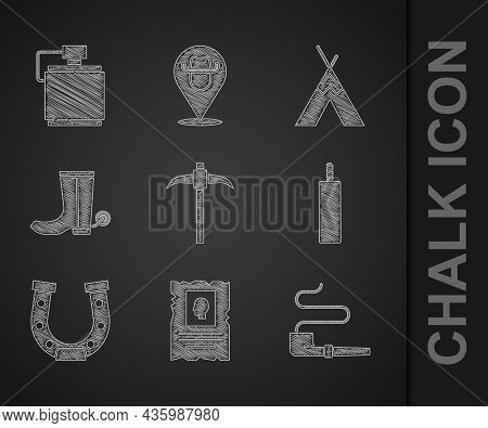 Set Pickaxe, Wanted Western Poster, Smoking Pipe, Dynamite Bomb, Horseshoe, Cowboy Boot, Indian Teep
