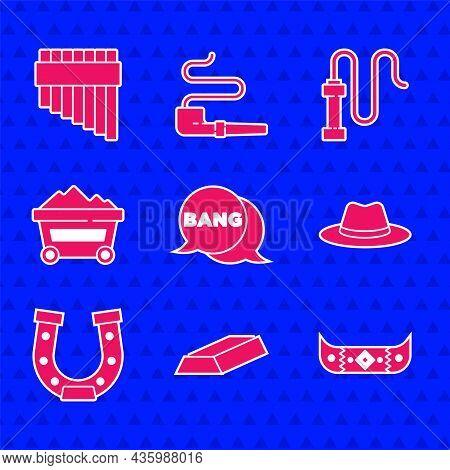 Set Bang Boom, Gun Comic, Gold Bars, Kayak Or Canoe And Paddle, Western Cowboy Hat, Horseshoe, Coal