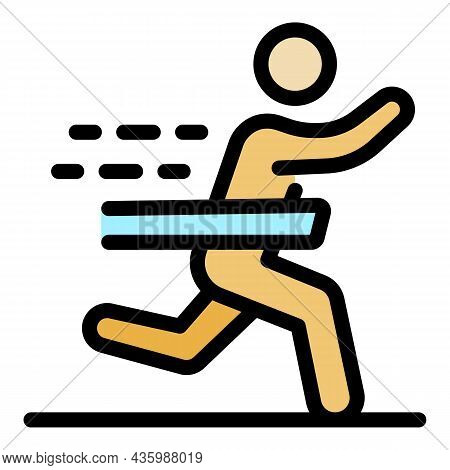 Senior Marathon Run Icon. Outline Senior Marathon Run Vector Icon Color Flat Isolated