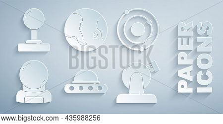 Set Ufo Flying Spaceship, Solar System, Astronaut Helmet, Astronomical Observatory, Earth Globe And
