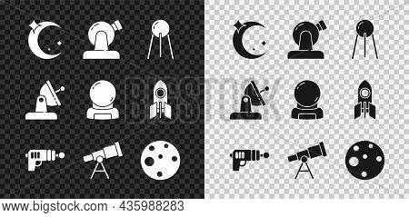 Set Moon And Stars, Astronomical Observatory, Satellite, Ray Gun, Telescope, Planet Mars, Dish And A