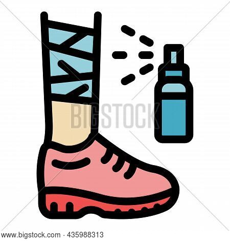 Foot Injury Spray Icon. Outline Foot Injury Spray Vector Icon Color Flat Isolated