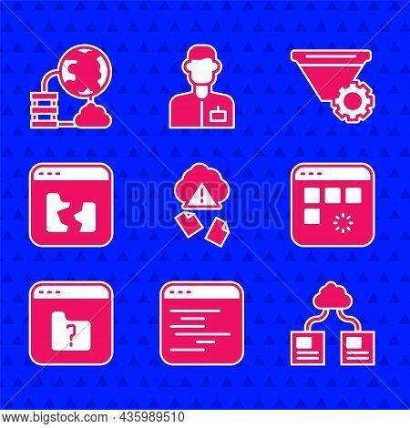 Set Cloud Hacking, Software, Technology Data Transfer, Loading Window, File Missing, Broken File, Fi