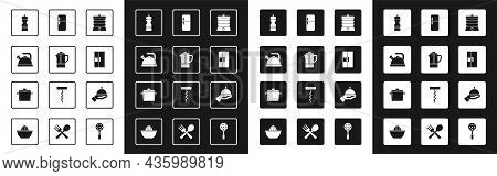 Set Slow Cooker, Teapot, Kettle With Handle, Pepper, Refrigerator, Covered Tray And Cooking Icon. Ve