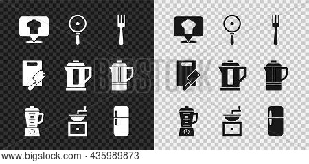 Set Chef Hat With Location, Frying Pan, Fork, Blender, Manual Coffee Grinder, Refrigerator, Cutting