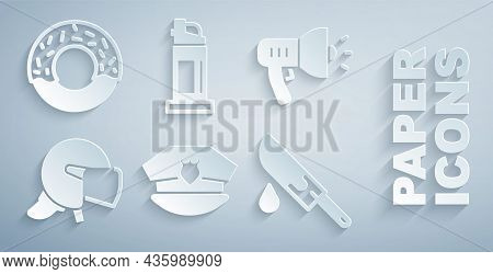 Set Police Cap With Cockade, Megaphone, Helmet, Bloody Knife, Pepper Spray And Donut Icon. Vector