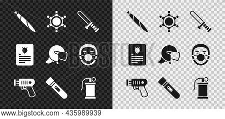 Set Marijuana Joint, Hexagram Sheriff, Police Rubber Baton, Electric Shocker, Flashlight, Hand Smoke