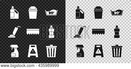 Set Bottle For Cleaning Agent, Trash Can, Temperature Wash, Cleaning Spray Bottle, Wet Floor, Vacuum