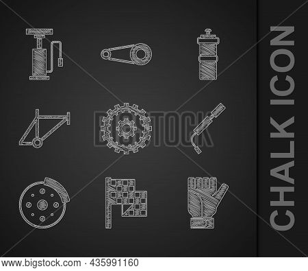 Set Bicycle Cassette, Checkered Flag, Gloves, Air Pump, Brake Disc, Frame, Sport Bottle With Water A