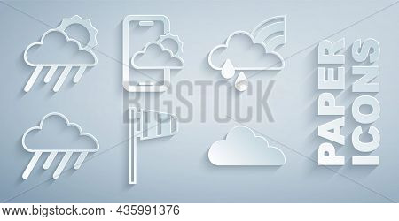 Set Cone Windsock Wind Vane, Rainbow With Cloud And Rain, Cloud, Weather Forecast And Sun Icon. Vect
