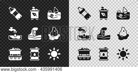 Set Bottle Of Water, Recycle Bin With Recycle, Problem Pollution The Ocean, Coal Train Wagon, Barrel