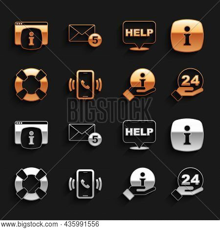 Set Telephone 24 Hours Support, Information, Lifebuoy, Speech Bubble With Text Help, Monitor Faq Inf