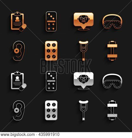 Set Pills In Blister Pack, Eye Sleep Mask, Dumbbell, Crutch Or Crutches, Hearing Aid, Grandfather, M