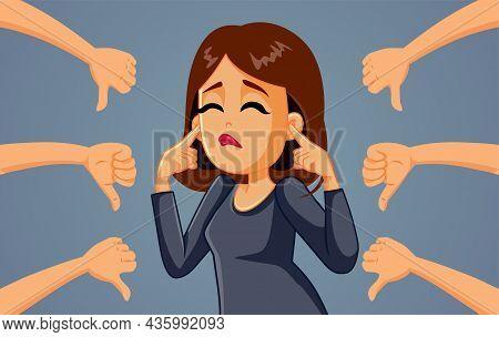 Woman Not Listening To Negative Feedback Vector Cartoon