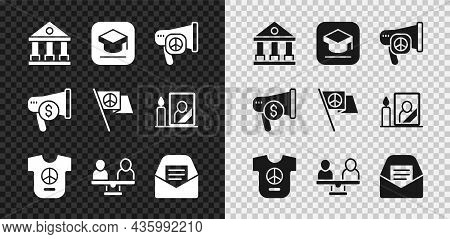 Set Courthouse Building, Graduation Cap, Peace, Gender Equality, Mail And E-mail, Megaphone Dollar A