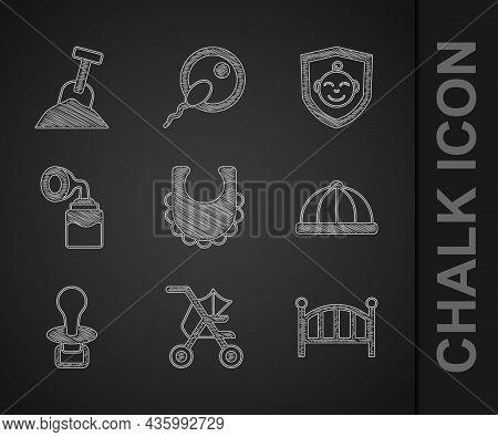 Set Baby Bib, Stroller, Crib Cradle Bed, Hat, Dummy Pacifier, Breast Pump, On Shield And Sandbox Wit