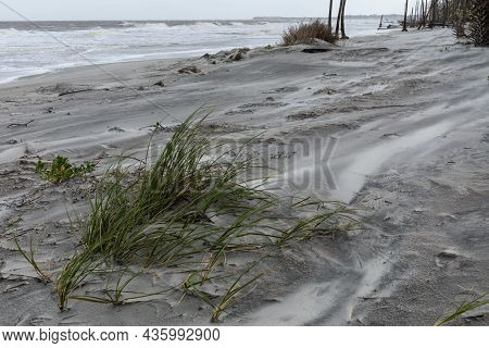 Blowing Sand And Seagrass On A Coastal Landscape, High Tide And Rough Surf, Horizontal Aspect