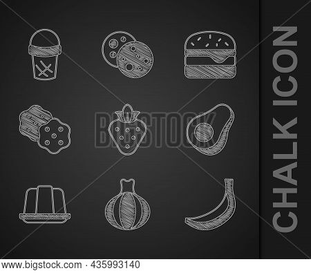 Set Strawberry, Onion, Banana, Avocado Fruit, Jelly Cake, Cracker Biscuit, Burger And Ice Cream In W