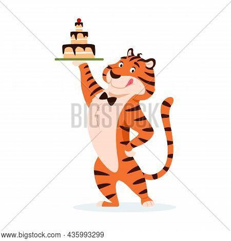 Cartoon Adorable Licking Tiger With Holiday Cake Isolated On White Background. Cute Happy Wild Cat W