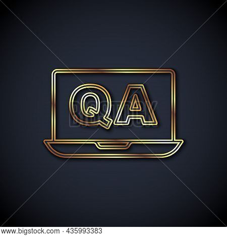 Gold Line Speech Bubbles With Question And Answer Icon Isolated On Black Background. Q And A Symbol.