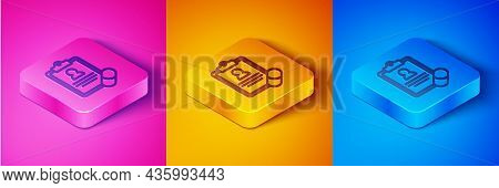 Isometric Line Medical Prescription Icon Isolated On Pink And Orange, Blue Background. Rx Form. Reci