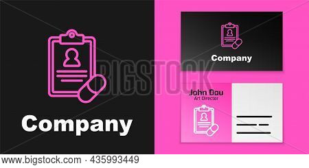 Pink Line Medical Prescription Icon Isolated On Black Background. Rx Form. Recipe Medical. Pharmacy