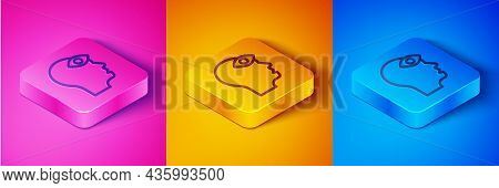 Isometric Line Man With Third Eye Icon Isolated On Pink And Orange, Blue Background. The Concept Of