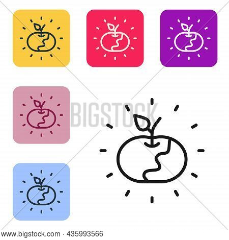 Black Line Poison Apple Icon Isolated On White Background. Poisoned Witch Apple. Set Icons In Color