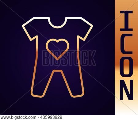 Gold Line Baby Clothes Icon Isolated On Black Background. Baby Clothing For Baby Girl And Boy. Baby