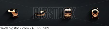 Set Helicopter, Rafting Boat, Tram And Railway And Icon With Long Shadow. Vector