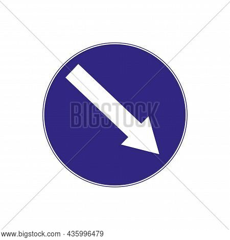 Blue Keep Right Sign. Isolated Road Signpost. Regulation Movement. Traffic Laws. Vector Illustration