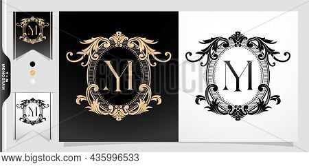 Heraldic Coat Of Arms Ym Or My Initial Letter. Graphic Name Frames And Border Of Floral Designs, App