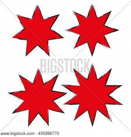 Starlike Figures Set. Comic Red Boom Sign. Communication Concept. Creative Art Design. Vector Illust