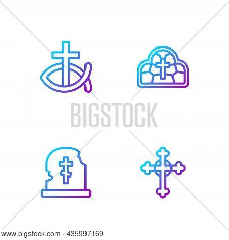 Set Line Christian Cross, Grave With Tombstone, Fish And Stained Glass. Gradient Color Icons. Vector