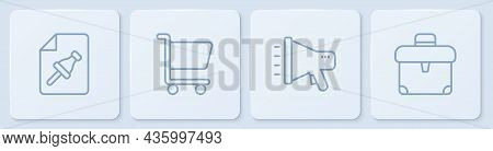 Set Line Note Paper With Push Button, Megaphone, Shopping Cart And Briefcase. White Square Button. V