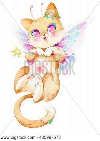 Set Of Watercolor Cliparts. Cute Mystical Cats. Witch Cats In A Hat, A Ghost Cat, An Angel Cat And A