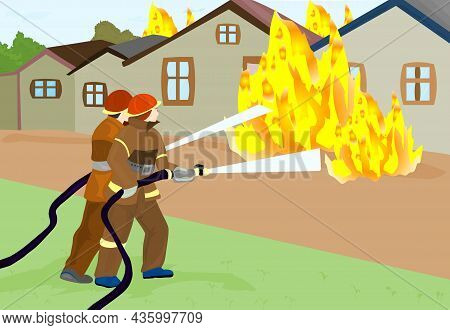 Firefighters Extinguish The Fire Vector Illustration. Firefighters Extinguish The Fire Vector Illust