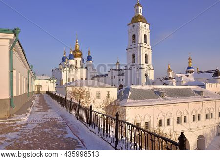 Tobolsk Kremlin In Winter. St. Sophia Assumption Cathedral With Bell Tower, Ancient Russian Architec