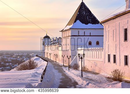 Tobolsk Kremlin In Winter. White Stone Towers Of The Eastern Fortress Wall. Old Russian Architecture