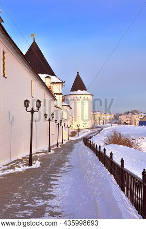 Tobolsk Kremlin In Winter. White Stone Fortress Walls On A High Hill, The Southern Round Tower. Old