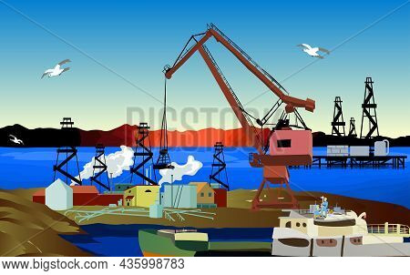 Oil Wells And A Crane Oil Industry Vector Illustration. Oil Industry
