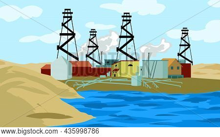 With Oil Wells And A Crane Oil Industry Vector Illustration. Oil Industry